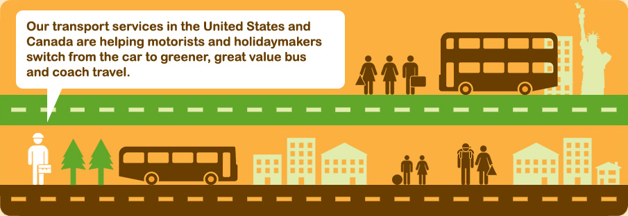Our transport services in the United States and Canada are helping motorists and holidaymakers switch from the car to greener, great value bus and coach travel.