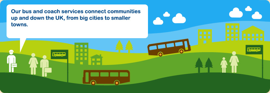 Our bus and coach services connect communities up and down the UK, from big cities to smaller towns.